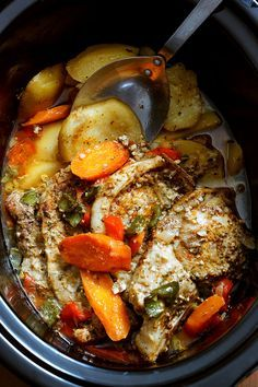 Pork chops, potatoes, carrots, fajita seasoning and bell peppers all simmered up in your slow cooker. This super easy recipe takes less than 10 minutes to prep and you let the slow cooker do all the work.