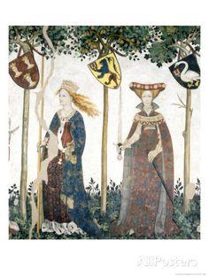The Nine Worthies and Nine Worthy Women ~  fresco detail ~ Sinope and Hippolyta ~ 1418-1430 ~ by Giacomo Jaquerio (1375-1453) ~ Castello della Manta, Saluzzo, Italy