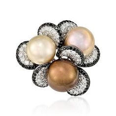 Multicolored Cultured South Sea Pearl & Diamond Ring in 18kt White Gold - I think it would be prettier with chocolate diamonds around the edge.