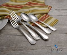 Liberty Tabletop is proud to offer beautiful flatware MADE IN THE USA. Our Pearl pattern features a timeless and elegant design. Liberty Tabletop is the ONLY flatware manufacturer in the USA and is perfect for your home. Flatware Storage, Flatware Set, How To Clean Silver, Kitchen Necessities, Steak Knife Set, Super Sets, Forks And Spoons, Steak Knives, Cool Things To Make