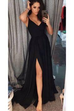 10853f707b sexy spaghetti straps black long prom dresses