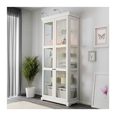 LIATORP Glass-door cabinet IKEA 3 adjustable glass shelves. Adjust spacing…