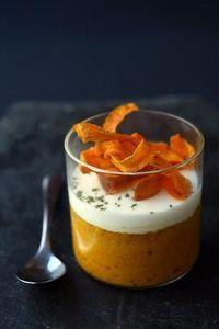Petits flans aux carottes épicées, crème au chèvre frais ( 2 œufs 1 kg de carottes curry, crème cumin 200g de chèvre ciboulette parmesan ):