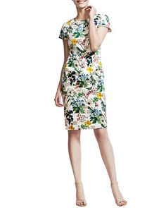 Botanical Cap-Sleeve Sheath Dress by Carolina Herrera at Bergdorf Goodman.