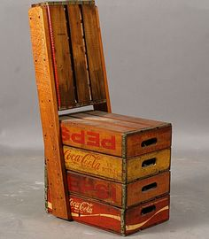 Pretty and whimsical chair made out of apple crates.