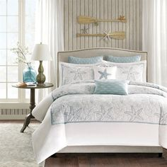 Bring the ocean into your home with the Harbor House Maya Bay Collection. A soft seafoam blue is the accent color used in this beach themed duvet cover and shams playing up the seashell and sand dollar embroidery. Made from 200 thread count cotton, this calming collection allows you to escape from reality in your own home.