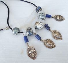 handmade jewelry that I made with the lampwork beads that I made on open torch, antique handmade sterling silver beads, lapis tube beads by CandanImrak, $72.00