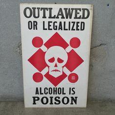 """Vintage WCTU """"Alcohol is Poison"""" Prohibition Poster"""