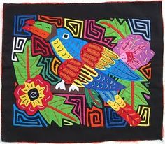 """Molas. """"We looked at examples of traditional molas featuring plants & animals of Panama.  Then, we sketched different rainforest animals (Science connection) that are found in Panama.  Students chose their best sketch, drew it on white paper with pencil, & traced with black sharpie.  To add patterns, trace around the shape of the animal using various colors of markers. Mount these on black paper, add layers of cut paper shapes around the animal to create patterns."""