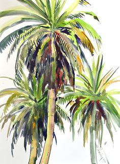 Tree Watercolor Painting, Arches Watercolor Paper, Watercolor Projects, Watercolor Flowers, Painting Flowers, Palm Tree Art, Palm Trees, Tropical Art, Tropical Paintings