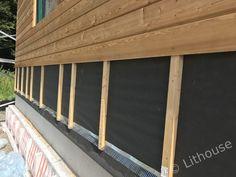 Exterior wall: membrane, battens, larch. #cladding #larch Larch Cladding, Batten, Sheds, Garage Doors, Construction, Exterior, Outdoor Decor, Wall, House