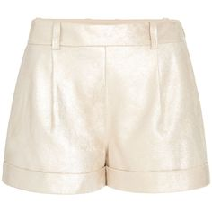 Diane von Furstenberg Gillian Metallic Suede Cuffed Short (46.280 RUB) ❤ liked on Polyvore featuring shorts, gold, tailored, cuff shorts, suede shorts, pleated shorts, metallic shorts and diane von furstenberg