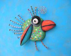Green Chickadee Original Found Object Wall por FigJamStudio en Etsy