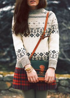 fashion clothing apparel outfit women style classy knitted sweater white skirt shoulder bag autumn winter casual