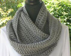 crochet pattern for white doves | Infinity Eternity Cowl Neck Warmer Scarf Grey Heather Cluster Crochet