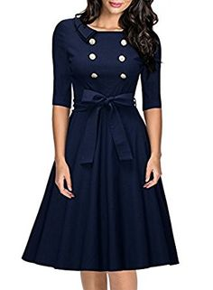 Miusol Women's Vintage 3/4 Sleeve Navy Style Belted Retro Evening Dress at Amazon Women's Clothing store: