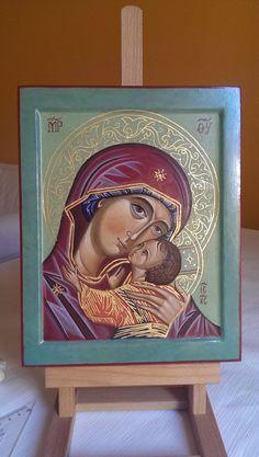 Mother of God di LidiasIcons su Etsy Madonna, Byzantine Icons, Orthodox Icons, Tempera, Gold Leaf, Christianity, Nativity, Religion, Mary
