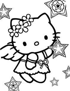 making snow angels coloring pages | 2413 Best Hello Kitty Arts images | Hello kitty art, Hello ...