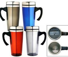 TRAVEL MUGS – M05  Price includes 1 color, 1 position print   2 Color imprint available for an additional charge  Decoration option: Pad print, Screen print, Heat transfer  Printing Size: 40mm x 30 mm  Engraving Size: 20mm x 6 mm