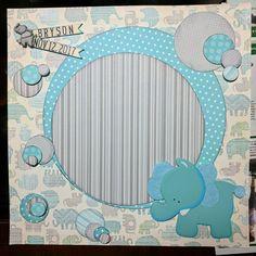 Custom baby page by Gail Strebel of Faux Finesse. #babylayout #babygift #babyboy #scrapbooking #scrapbookinglayout #scrapboookingbabyboy #babyblue #fauxfinesseonfacebook #babyboylayout  #elephantlayout #elephantpage
