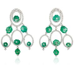 Sintessi Emerald and Diamond Drop Earrings (2 218 920 UAH) ❤ liked on Polyvore featuring jewelry, earrings, diamond drop earrings, 18 karat gold earrings, 18k diamond earrings, earring jewelry and handcrafted earrings