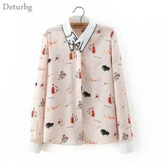 Cheap shirt dog, Buy Quality shirt italy directly from China shirts hawaiian Suppliers: Women's Desigual Cat Embroidery Collar Blouse 2016 Casual Ladies Cats Print Long Sleeve Shirts Pink Blusas Mujer Br203