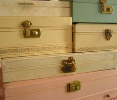 """Vintage jewelry boxes - still have one that my daughter uses for all of my grandma's """"vintage"""" jewelry!"""