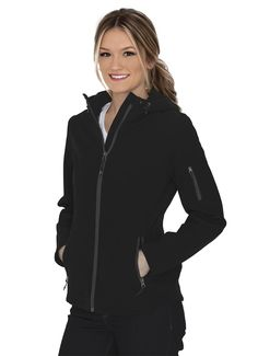 14-oz, 92/8 polyester/spandex bonded with 100% polyester micro fleece 1000mm/1000g/m2 waterproof/breathability rating 3-panel hood with adjustable drawcord and toggles Full length inner storm flap with chin guard Drawcord and toggles at hem Bonded Anti-pill Stretch Breathable Wind & water resistant YKK zipper Due to the nature of polyester, special care must be taken throughout the decoration process. Polyester Spandex, Hoods, Bomber Jacket, Stylish, Lady, Jackets, Zipper, Decoration, Water