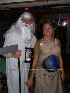 Original Costume Idea for a Pregnant Couple: Mother Earth and Father Time ... This website is the Pinterest of costumes