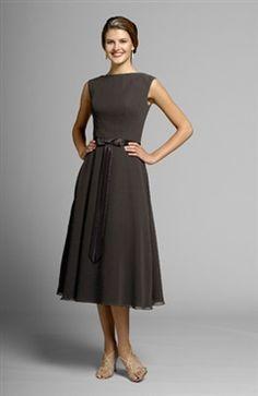 21229b342c7 Tea-length Browns High Neck Sleeveless Bridesmaid Dresses - Outerdress.com  Patterned Bridesmaid Dresses