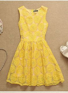 Yellow Floral Dress - Sunflower Embroidery Lace Dress.