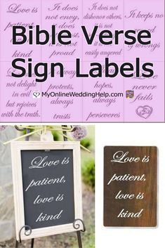 DIY your own 1 Corinthians bible verse signs with these vinyl labels. Nan sells these in your choice of four sizes and nine colors. Make your signs in Wedding Crafts, Diy Wedding, Wedding Decorations, Aisle Decorations, Bible Verse Signs, Bible Verses, Wedding Labels, Wedding Signs, Second Wedding Invitations