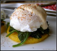 Eggs Florentine on Golden Polenta (low calorie, gluten free) from The Dutch Baker's Daughter #SkinnyMama. Visit www.barhyte.com