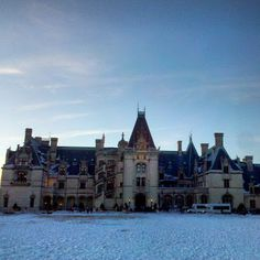 The Biltmore House after a fresh coat of snow.