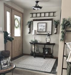 decor kitchen cabinets for farmhouse decor farmhouse decor still in style decor must haves decor essentials decor dining table decor room decor table runner Rustic Entryway, Entryway Wall Decor, Entryway Ideas, Foyer Table Decor, Bench Decor, Entryway Storage, Rustic Room, Entrance Decor, Main Entrance