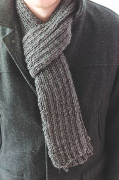Ravelry: Simple Ribbed Knit Scarf pattern by Words & Whisks Mens Scarf Knitting Pattern, Crochet Mens Scarf, Hand Knit Scarf, Easy Knitting, Crochet Scarves, Knitting Patterns, Man Scarf Knit, Men's Scarves, Knit Shawls