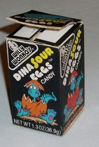 DinoSour eggs....I choked on one of these when I was 12, and was saved by my brother-in-law doing the heimlich on me - there's a reason they are no longer made! Lol
