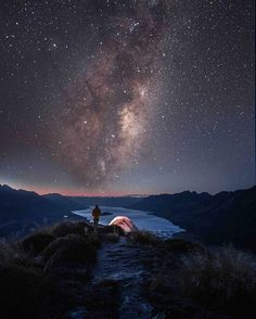A mountain ridge view of a starry New Zealand sky ..... by Cath Sim on Instagram