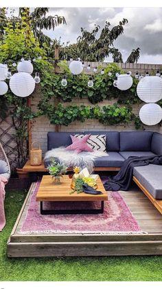 Rustic Outdoor Decor, Small Balcony Decor, Backyard Patio Designs, Patio Ideas, Balcony Ideas, Small Deck Decorating Ideas, Backyard Decorations, Backyard Ideas For Small Yards, Porch Decorating