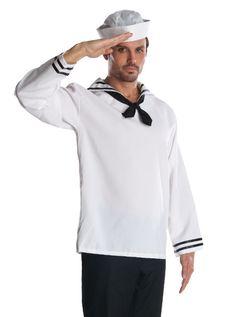 Adult Mens Navy Sailor Halloween Costume Shirt + Hat #Rubies