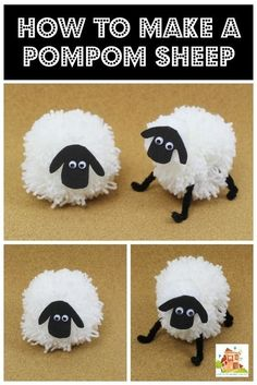How to make a Pompom sheep - Mum In The Madhouse- Love these pom pom sheep, great to make a Shaun the sheep ready for the movie. Easter Crafts, Christmas Crafts, Crafts For Kids, Arts And Crafts, Sheep Crafts, Yarn Crafts, Nativity Crafts, Diy Crafts, Pom Pom Animals