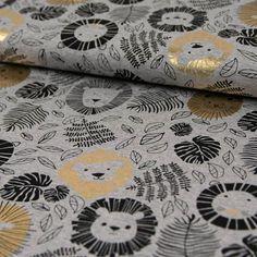 Nähen für Kinder: Jerseystoff mit goldenen und schwarzen Löwen / sewing for kids: grey jersey with golden lion print made by Online-Stoffe Werning via DaWanda.com