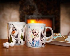 """the movie may be """"Frozen"""" but we don't have to be - choose your favorite character and add a warm drink to stay toasty this winter http://www.zak.com/character_collections_disney_frozen #Frozen #Olaf #Elsa #LetItGo #ZakDesigns"""