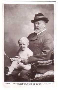 Crown Prince Olav of Norway (future King Olav V of Norway) and his grandfather, King Edward VII of England