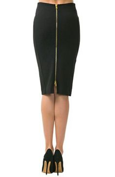 A black pencil skirt is a wardrobe essential and we guarantee our Nora High waist fitted pencil skirt is the best and most flattering pencil skirt out there! Features a full back gold zipper. Fully li