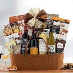 Wine Gift Baskets - Red and White Wine Gift Basket White Wine, Red Wine, Wine Gift Baskets, California Wine, Wine Gifts, Wines, Red And White, Treats, Snacks