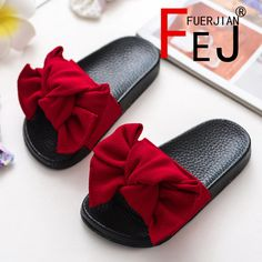 ad5dd1e0c06280 Buy Women Slipper Summer New Bow Knot Waterproof Girls Princess Slipper  Fashion Casual Children Home Slippers Red at Wish - Shopping Made Fun