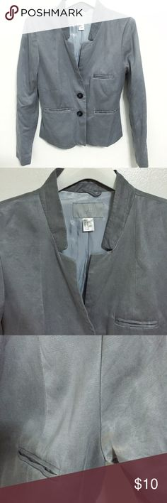 H&M Grey Cupro Mandarin Collar Blazer Jacket Pre-loved in good condition, women's size Small. This H&M Grey Cupro Mandarin Collar Blazer Jacket is perfect for work or everyday! The Cupro material has a silk like texture and feels amazing. Mandarin like collar. Two buttons. These is a faint color transfer on the left pit, most likely from a purse I was carrying. Should come out in the wash but cannot guarantee. 56% Cupro 44% Cotton H&M Jackets & Coats Blazers