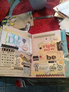 smashbook page. Nice use of 7 Gypsies tags, bingo card, hot air balloon