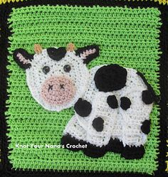 This is one applique in a set of 12 needed to complete Knot Your Nana's Crochet Farm Blanket.